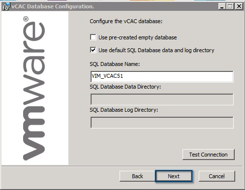 Configure the vCAC Database