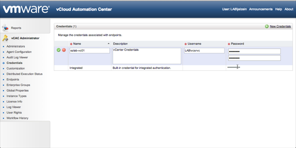 vCenter Credentials Example